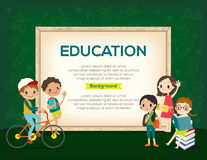 Szczęśliwa grupa dzieciak edukaci tła szablon ilustracja wektor