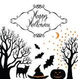 Szczęśliwa Halloween karta ilustracja wektor