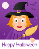 Szczęśliwa Halloween karta z Śliczną czarownicą Zdjęcie Royalty Free