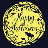 Szczęśliwa Halloween karta z księżyc i nietoperzem Fotografia Royalty Free