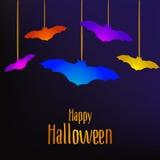 Szczęśliwa Halloween karta z nietoperzami Obrazy Royalty Free
