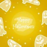 Szczęśliwa Halloween karta z strasznym duchem, gwiazdami i tekstem, Zdjęcie Stock
