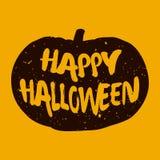 Szczęśliwa Halloween karta z sylwetki banią Obrazy Stock