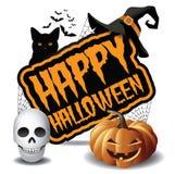 Szczęśliwa Halloween przyjęcia czaszki i bani ikona 2 Ilustracji