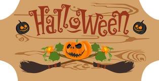 Szczęśliwa Halloween rocznika odznaka na drewnianej deski bezszwowym tle również zwrócić corel ilustracji wektora ilustracji