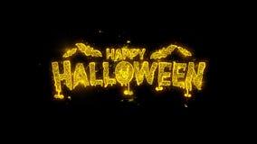 Szczęśliwa Halloween typografia pisać z złotymi cząsteczkami iskrzy fajerwerki
