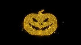 Szczęśliwa Halloweenowa bania Pisać z Złotymi cząsteczkami Iskrzy fajerwerki ilustracja wektor