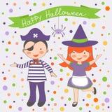Szczęśliwa Halloweenowa dzieciak para Fotografia Stock