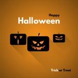 Szczęśliwa Halloweenowa etykietka z baniami Fotografia Royalty Free