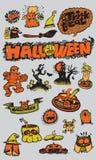 Szczęśliwa Halloweenowa ręka Rysujący horroru nakreślenie Ustawiający z kaligrafią Te Zdjęcie Royalty Free