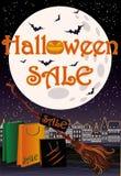 Szczęśliwa Halloweenowa sprzedaży czarownicy zakupy karta Obraz Royalty Free