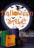 Szczęśliwa Halloweenowa sprzedaży powitania zakupy karta Zdjęcia Royalty Free