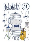 Szczęśliwa Halloweenowa tekst karta Kartka z pozdrowieniami z ręcznie pisany literowaniem i Halloweenowymi charakterami wektor ilustracji