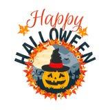 Szczęśliwa Halloweenowa wektor karta Halloweenowa płaska ilustracja Halloween rzeźbiąca pączuszku Obraz Stock