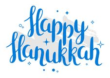 Szczęśliwa Hanukkah świętowania wakacje karta z literowaniem