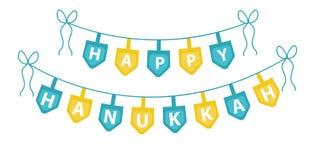 Szczęśliwa Hanukkah girlanda, faborek Hanukkah girlanda dla przyjęcia ilustracji