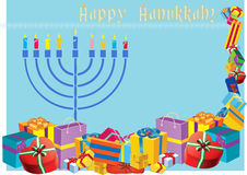 Szczęśliwa Hanukkah kolorowa wakacyjna ilustracja z menorah i ho Zdjęcie Stock