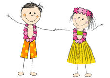 Szczęśliwa Hawaje para odizolowywająca na bielu Zdjęcie Stock
