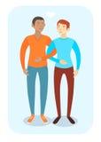 Szczęśliwa homoseksualna para w przypadkowych ubraniach Ilustracji