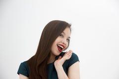 Szczęśliwa i beatifull kobieta na białym tle Zdjęcie Stock