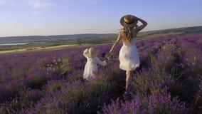 Szczęśliwa i bezpłatna mama i córka biegamy przez pole kwitnąca lawenda w zwolnionym tempie zbiory wideo