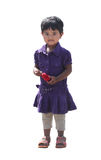 Szczęśliwa i uśmiechnięta śliczna młoda dziewczyna odizolowywająca na bielu (dzieciak) Zdjęcia Stock