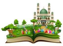 Szczęśliwa islamska dzieciak kreskówka Mubarak i kolorowy teksta eid wewnątrz stać na czele meczet rozpieczętowana książka royalty ilustracja