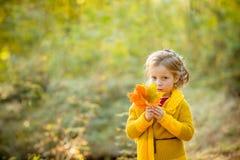 szczęśliwa jesieni Troszkę bawić się z spada liśćmi dziewczyna w ayellow żakiecie Cześć jesieni pojęcie Dzieciak sztuka outdoors  obrazy stock