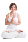 Szczęśliwa joga kobieta - kobieta odizolowywająca na białym tle fotografia stock
