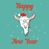 Szczęśliwa kózka na nowy rok karcie Zdjęcia Royalty Free