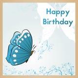 szczęśliwa kartkę na urodziny Pocztówka dekoruje z błękitną biel rośliną i motylem Gratulacyjny projekta szablon ilustracja wektor