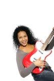 Szczęśliwa kobieta z gitarą Fotografia Stock