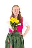 Szczęśliwa kobieta daje ci róże jak teraźniejszość Obraz Stock