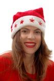szczęśliwa kobieta hat Mikołaja Fotografia Stock