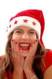 szczęśliwa kobieta hat Mikołaja Zdjęcie Royalty Free