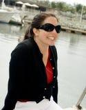 szczęśliwa kobieta jacht Obraz Royalty Free