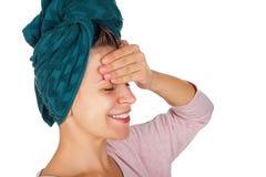 Szczęśliwa kobieta po prysznic Obrazy Royalty Free