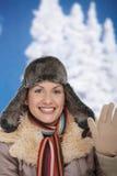 Szczęśliwa kobieta przy zimą obrazy royalty free