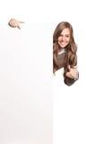 Szczęśliwa kobieta trzyma pustego sztandar Zdjęcie Royalty Free