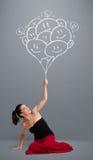 Szczęśliwa kobieta trzyma uśmiecha się balonów rysować Zdjęcia Stock