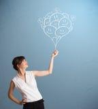 Szczęśliwa kobieta trzyma uśmiecha się balonów rysować Obraz Royalty Free