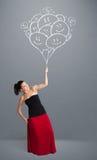 Szczęśliwa kobieta trzyma uśmiecha się balonów rysować Zdjęcie Royalty Free