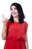 Szczęśliwa kobieta wskazuje up - odosobnionego Obraz Stock