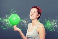 Szczęśliwa kobieta z balonem Obraz Stock