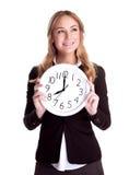 Szczęśliwa kobieta z dużym zegarem Fotografia Stock