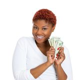 Szczęśliwa kobieta z gotówką Fotografia Royalty Free