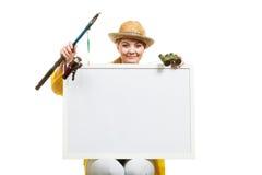 Szczęśliwa kobieta z połowu prącia mienia deską obrazy royalty free
