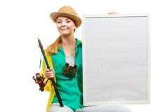 Szczęśliwa kobieta z połowu prącia mienia deską obraz royalty free