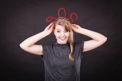 Szczęśliwa kobieta z sos znakiem Obraz Royalty Free