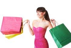 Szczęśliwa kobieta z torba na zakupy, odizolowywającymi Obraz Royalty Free